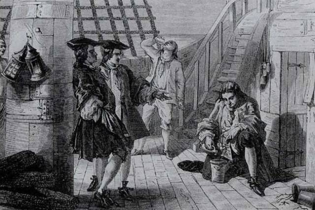 Gravure représentant Gabriel de Clieu avec son plant de café